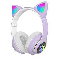 Беспроводные детские Наушники с кошачьими Ушками с подсветкой с MicroSD с FM-Радио Cat EarSTN-28 Фиолетовые