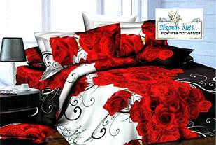 Комплект постільної білизни Троянди Бязь Gold розмір полуторний 150х215 см
