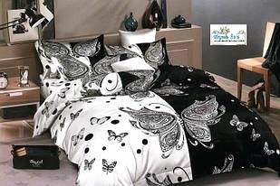 Полуторный набор постельного белья  Бязь Gold 150х215 см Черно-белый с бабочками