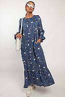 ✔️Женское платье миди с цветочным принтом с воланом штапельное 42-56 размера разные расцветки