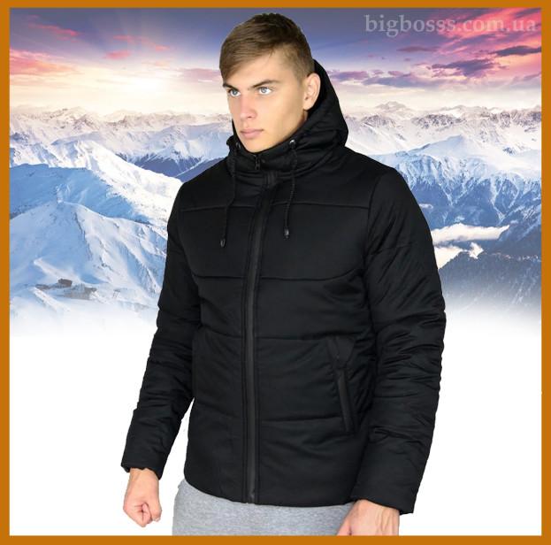 """Куртка мужская зимняя теплая с капюшоном, Пуховик мужской зимний """"Glacier"""" черный"""