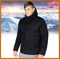 """Куртка мужская зимняя теплая с капюшоном, Пуховик мужской зимний """"Glacier"""" черный, фото 1"""