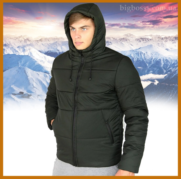 """Куртка мужская зимняя теплая с капюшоном, Пуховик мужской зимний """"Glacier"""" хаки"""