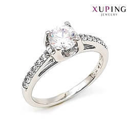 Кольцо Xuping, белые фианиты (куб. цирконий), ширина 6 мм, вес 3 г, родий (белое золото), ХР01139 (18)