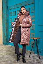 Женская зимняя куртка Стеганая плащевка на синтепоне Размер 50 52 54 56 В наличии 3 цвета