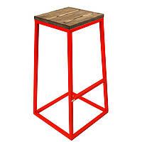 Полубарный стул без спинки высота посадки 65 см красный. Дизайнерская мебель лофт для кафе, бара, ресторанов