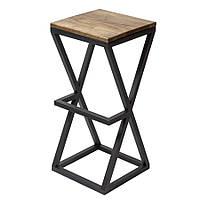 Высокий барный стул с подножкой без спинки выс. 77 см. Черный стул для бара, престижная мебель лофт