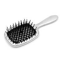 Расческа для волос серебро с черным Janeke Superbrush Limited Silver (8006060593362)