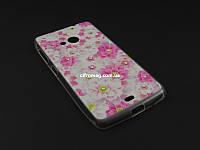 Чехол Diamond TPU  с рисунком для Nokia Lumia 535 розовый принт