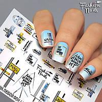 Слайдер-дизайн наклейки на ногти для маникюра водные надписи,геометрия,полосы Fashion Nails G68