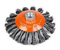 Щетка Polax конусная по металлу для УШМ (болгарки) пучки витой плетеной стальной проволоки М14 115 мм (54-165)