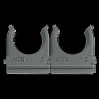 Кріплення для труб і кабелю  D20 (100 шт) сіре