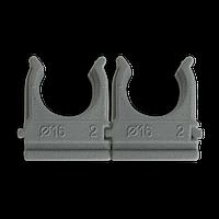 Кріплення для труб і кабелю  D16 (100 шт) сіре