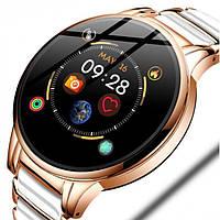 Модные женские умные часы SMART BEAUTY CERAMIC GOLD, наручные смарт часы