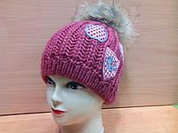 Молодежная женская шапка Bozena ТМ Камея,  шерстяная, цвет вишневый, фото 1