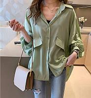 Шелковая блузка свободного кроя с объемными рукавами, фото 2