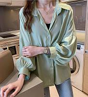 Шелковая блузка свободного кроя с объемными рукавами, фото 4