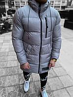 Пуховик куртка мужская зимняя серая теплая с капюшоном удлиненная
