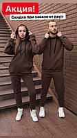 Спортивные костюмы оверсайз теплые на флисе парные толстовка и штаны с начесом женские и мужские