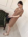 Однотонное платье-футболка песочное, фото 2