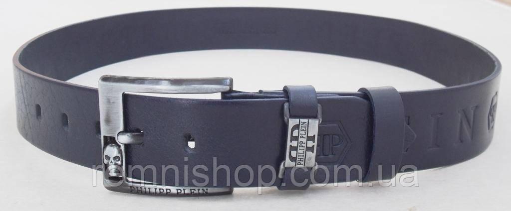 ee2c1b6b4f3a Мужской кожаный ремень Philipp Plein темно-синий