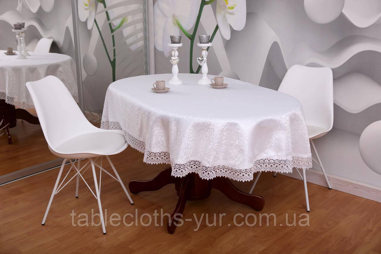 Скатерть Праздничная с Кружевом 150-300 3D «Glamor» Овальная с мелким узором №1