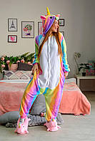 Кигуруми пижама Радужный единорог размер L - костюм животного, кигурими для взрослого рост 170, 176