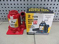 Домкрат бутылочный низкопрофильный двухштоковый 2т 150-370мм, TF0202