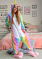 Кигуруми пижама радужный единорог размер S - костюм животного, кигурими для взрослого рост 150, 160