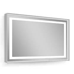 Зеркало 80*60см, в алюминиевой раме, с подсветкой, с подогревом, цвет белый (мебель под умывальник VERITY
