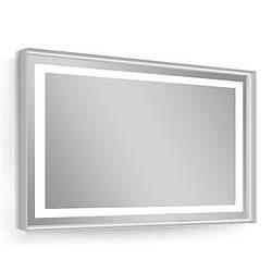 Зеркало 80*60см, в алюминиевой раме, с подсветкой, с подогревом, цвет серый (мебель под умывальник VERITY