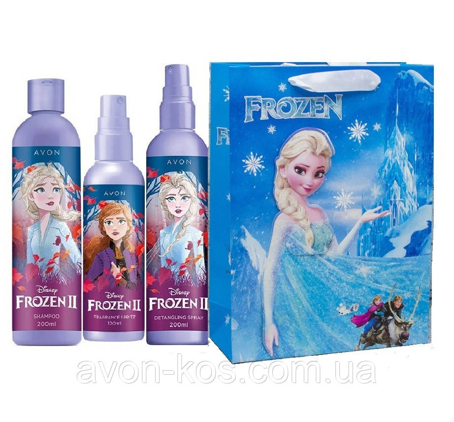 """AVON Disney Frozen II - Холодне Серце 2. Дитячий парфюмерно-косметичний набір (4 в1) в Подарунковому пакеті  """"Frozen"""" (27 * 20 * 8)"""