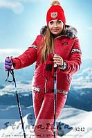 Женский теплый лыжный костюм Moschino большого размера красный, фото 1