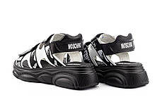 Женские босоножки кожаные летние черные Best Vak Moschino Л 67-01 Black, фото 3