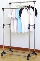 Двойная телескопическая вешалка стойка для одежды Double Pole 160х80см DL143