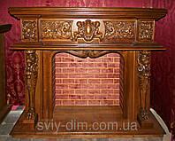 Портал деревянный из дуба резной под электрокамин, ручная работа
