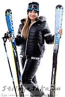 Женский теплый лыжный костюм Moschino большого размера черный, фото 1