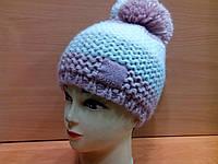 Polina ТМ Камея, женская теплая шапка с бубоном в полоску,пудра цвет, фото 1