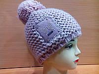 Petra, ТМ Kamea Польша,молодежная женская шапка с бубоном, шерстяная, пудра цвет