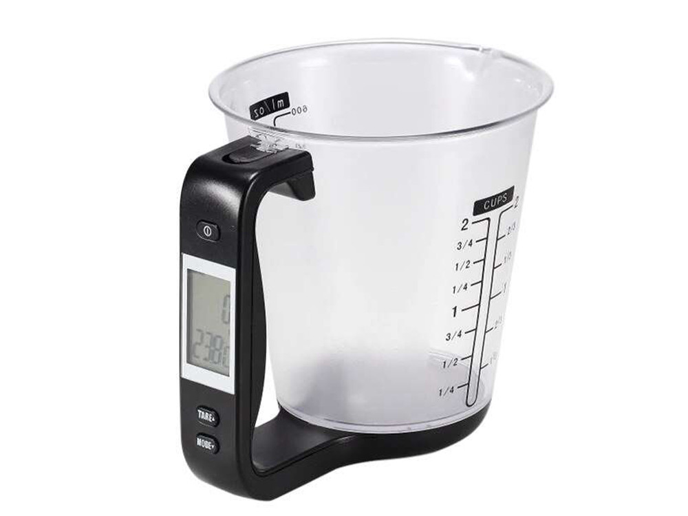 Мерный стакан с весами и термометром для кухни Hostweigh электронный 1000 г 600 мл  Черный