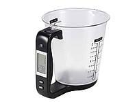 Мерный стакан с весами и термометром для кухни Hostweigh электронный 1000 г 600 мл  Черный, фото 1