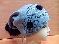 Agata ТМ Камея, молодежная женская шапка с бубоном, полушерстяная, цвет серый