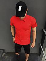 ПОДАРОК!!!Костюм Intruder LaCosta летний красно-черный Мужская футболка поло+Мужские шорты трикотажные + Кепка