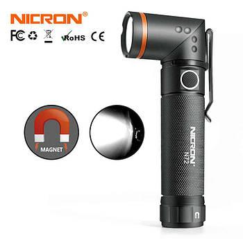 Светодиодный ручной фонарь Nicron N72 (800LM, IPX4, Торцевой магнит, Поворотная голова) Поворотный 90 градусов