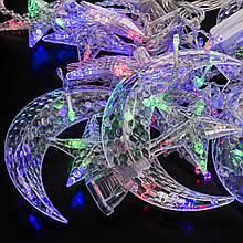 Світлодіодна гірлянда-штори зірки і місяць Christmas Light Мультиколор LED (202102)