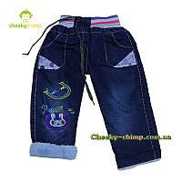 Теплые джинсы на девочку (махра) 68-92 см