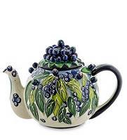"""Фарфоровый заварочный чайник """"Голубика"""" 1600 мл BS- 39"""