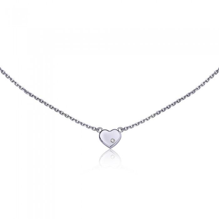 Подвеска сердечко на серебряной цепочке
