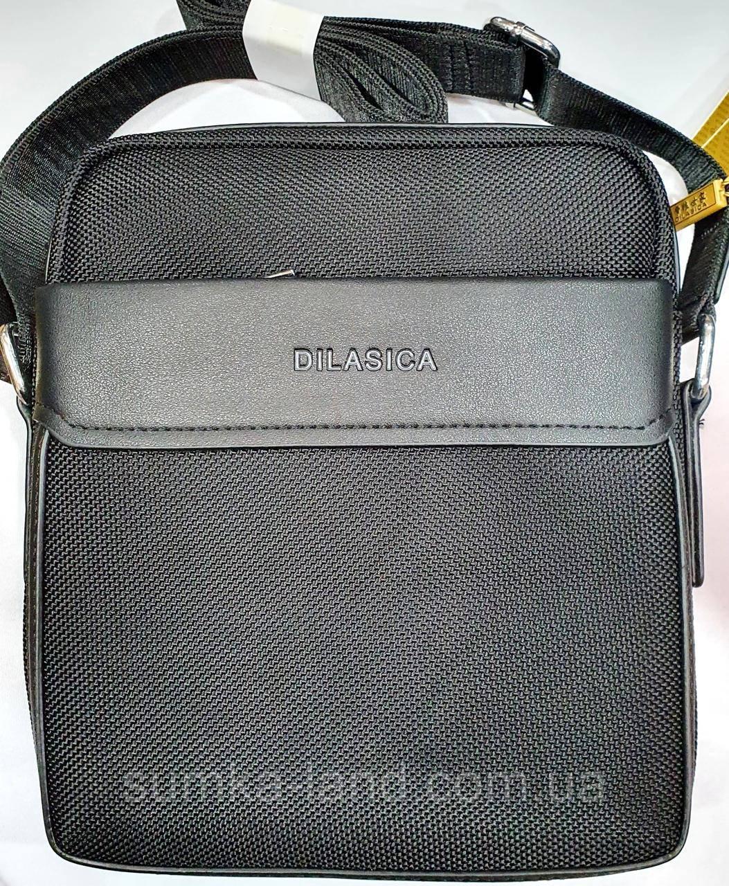 Мужская текстильная городская сумка, черная барсетка через плечо со вставками из кожзама 21*24 см