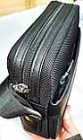 Мужская текстильная городская сумка, черная барсетка через плечо со вставками из кожзама 21*24 см, фото 2
